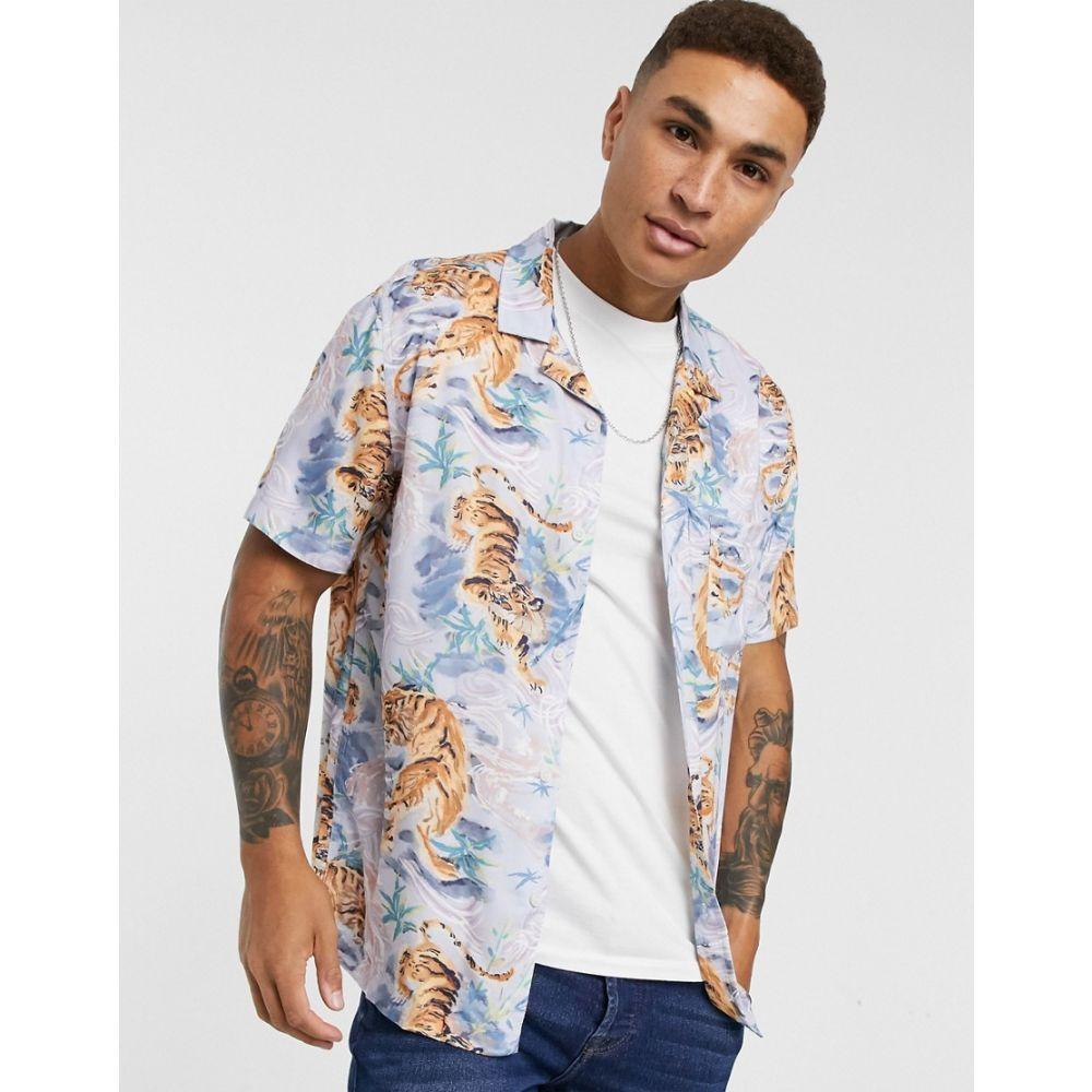 トップマン Topman メンズ 半袖シャツ トップス【short sleeve revere shirt with tiger print in blue】Multi