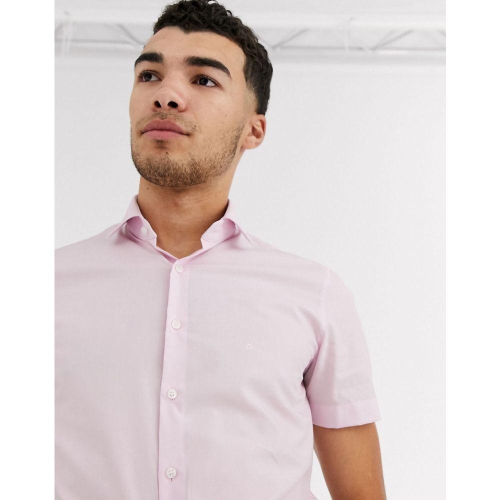 カルバンクライン Calvin Klein メンズ 半袖シャツ トップス【poplin stretch slim short sleeve shirt】Pink