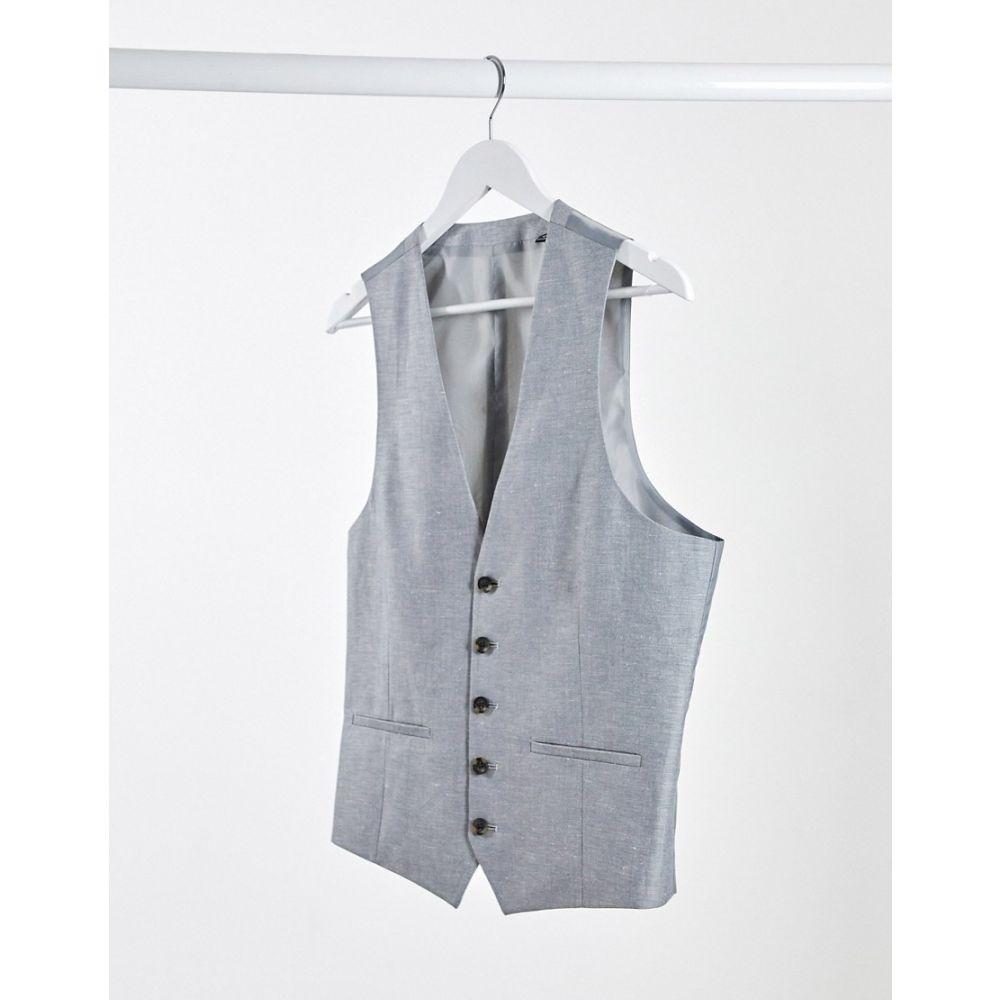 ルーディー RUDIE メンズ ベスト・ジレ トップス【Rudie linen slim fit suit waistcoat】Silver