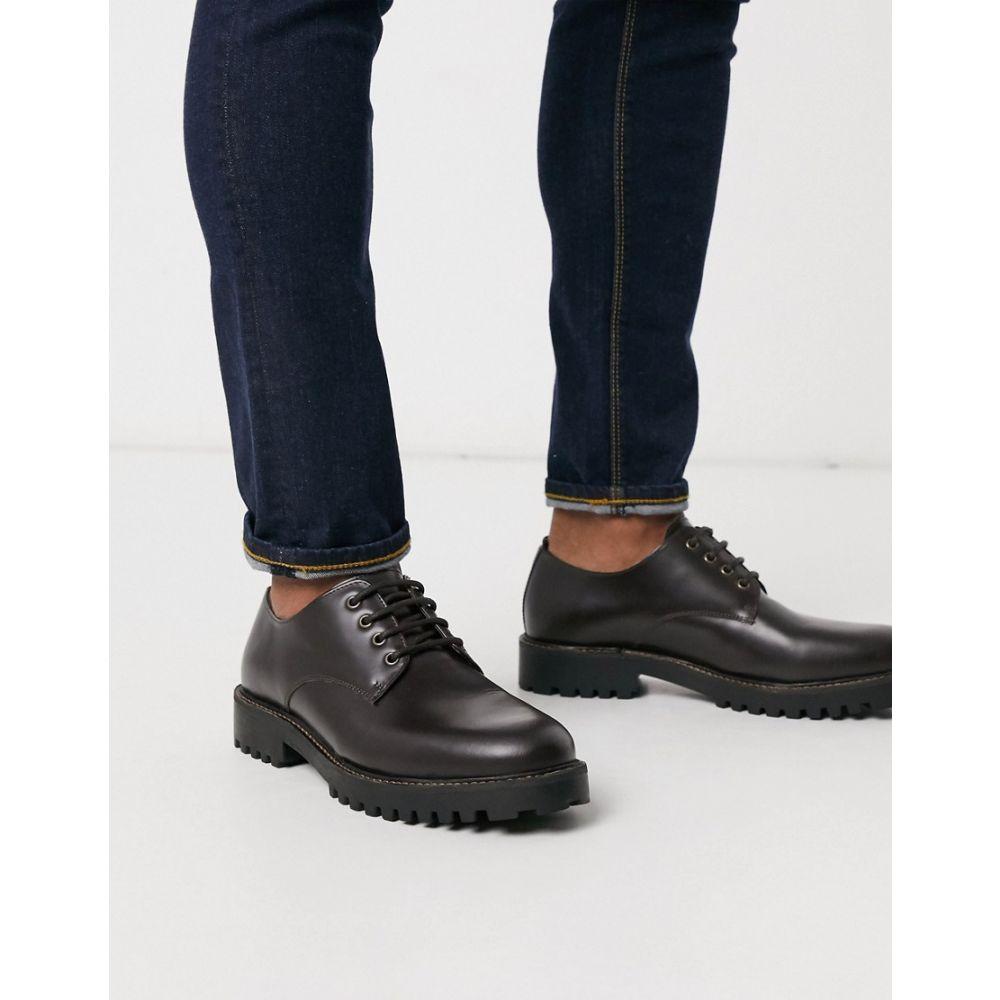 リバーアイランド River Island メンズ 革靴・ビジネスシューズ チャンキーヒール レースアップ シューズ・靴【chunky sole lace up shoes dark brown】Dark brown