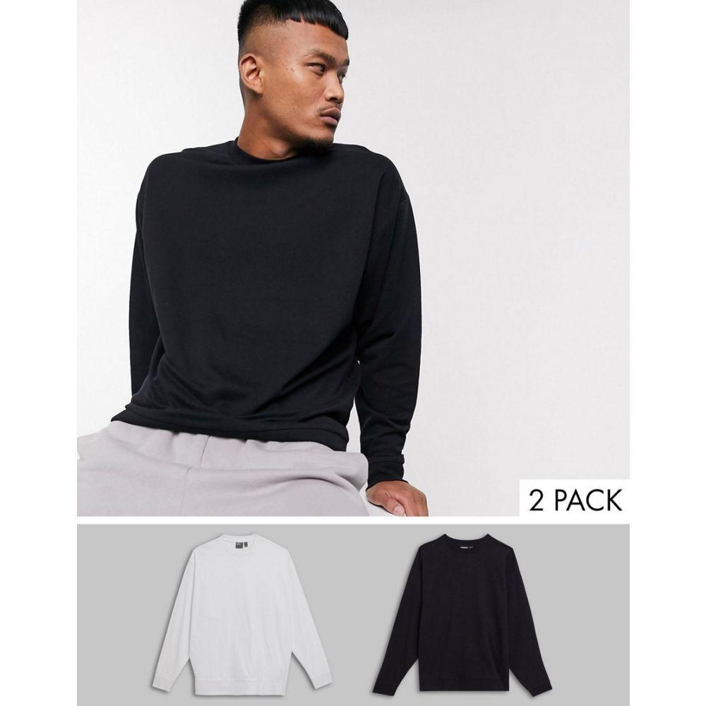 エイソス ASOS DESIGN メンズ スウェット・トレーナー 2点セット トップス【lightweight oversized sweatshirt 2 pack black / white】Black/white