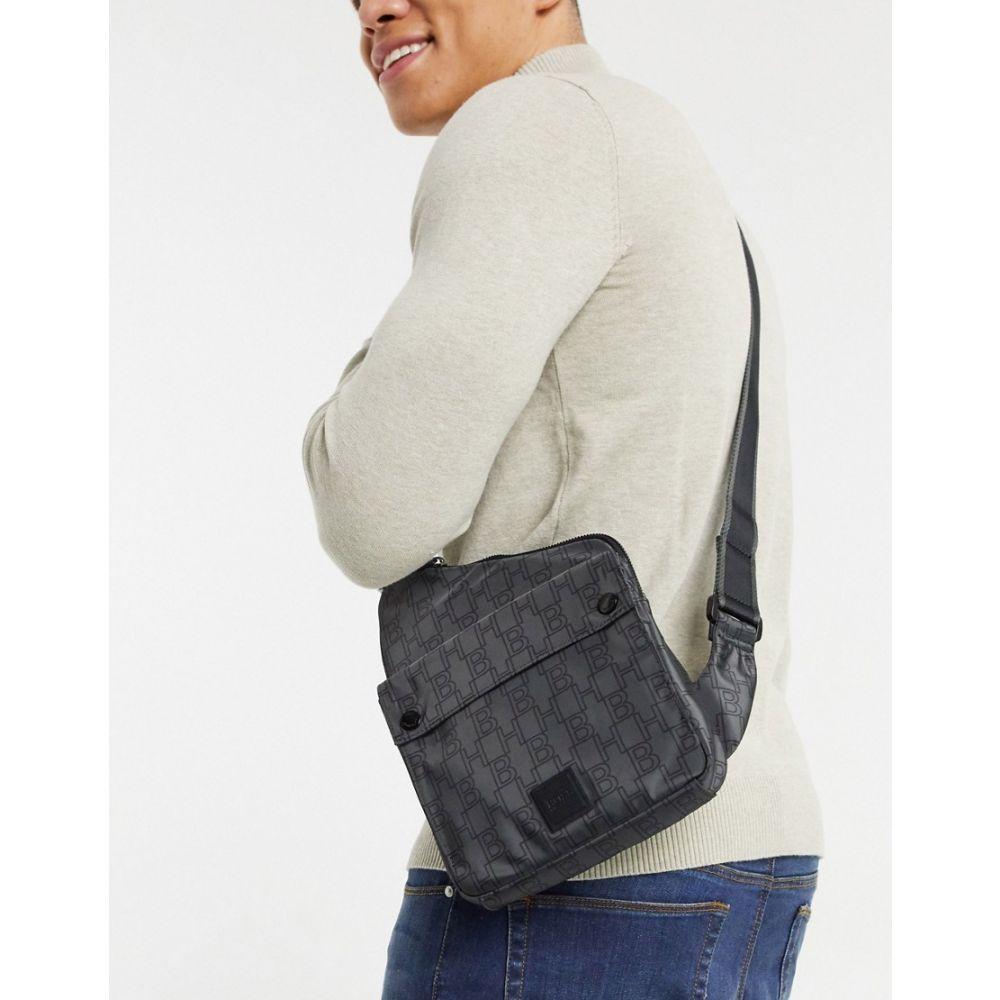 ヒューゴ ボス BOSS メンズ バッグ 【Pixel asymmetric x body bag with all over print in grey】Charcoal