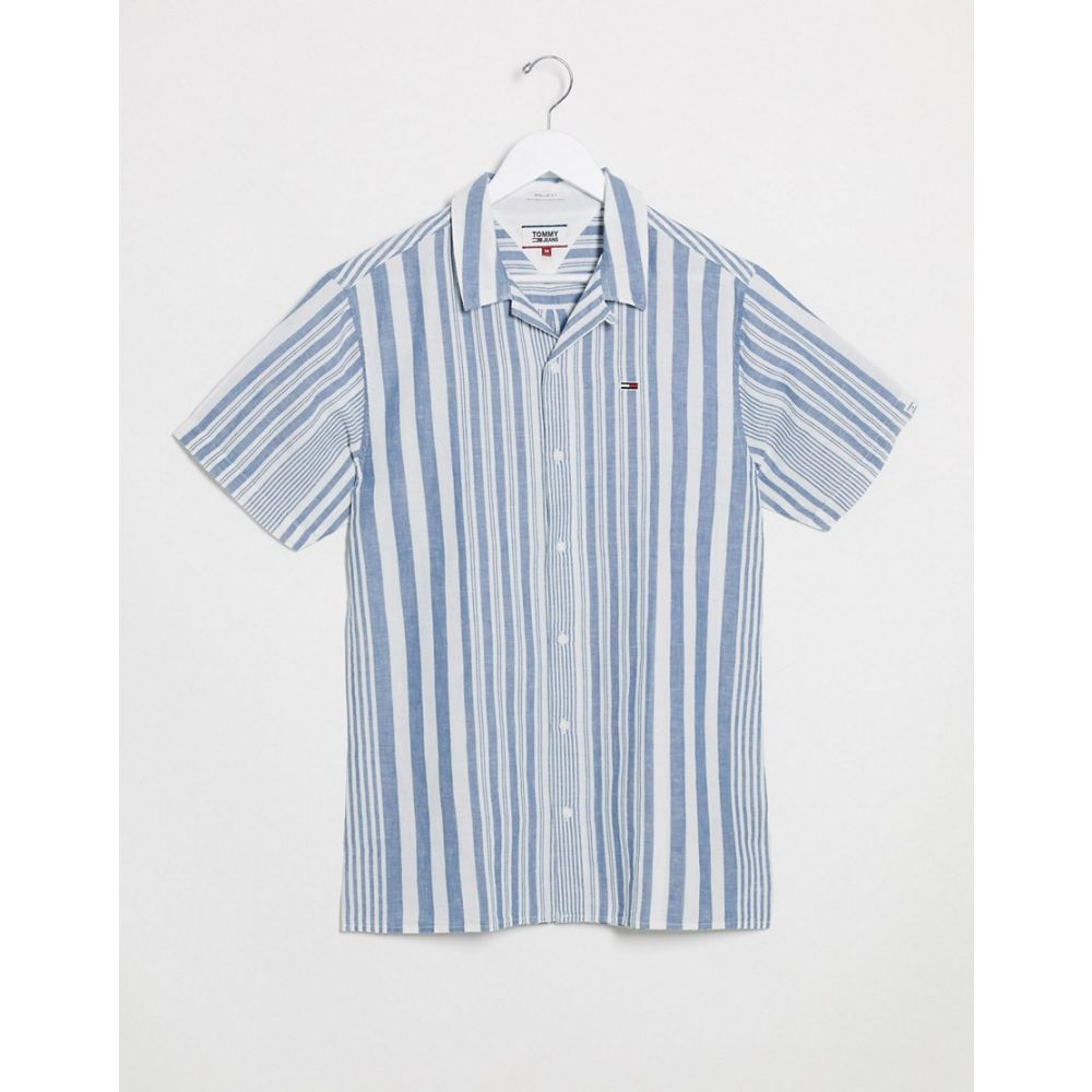 トミー ジーンズ Tommy Jeans メンズ 半袖シャツ トップス【stripe camp short sleeve shirt in blue】Audacious bl