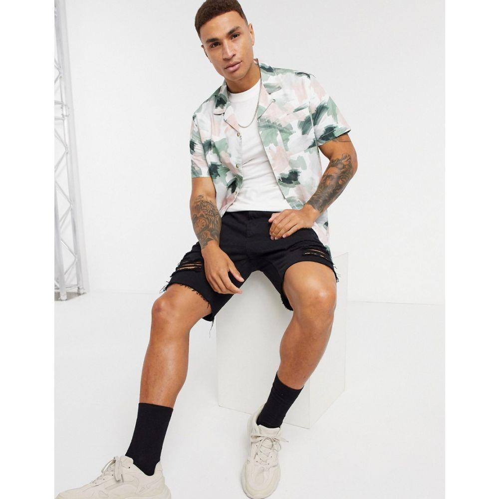 トップマン Topman メンズ 半袖シャツ トップス【short sleeve printed revere shirt in pastel pink/green】Multi