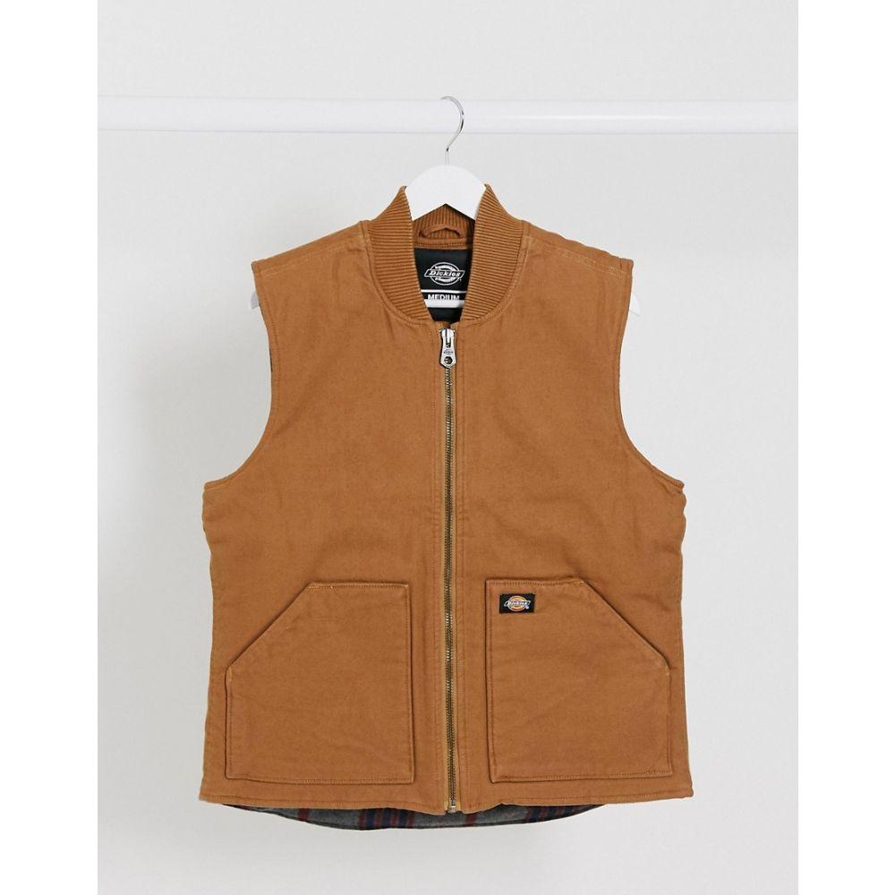 ディッキーズ Dickies メンズ ベスト・ジレ トップス【Lawrenceburg canvas vest in brown duck】Brown duck