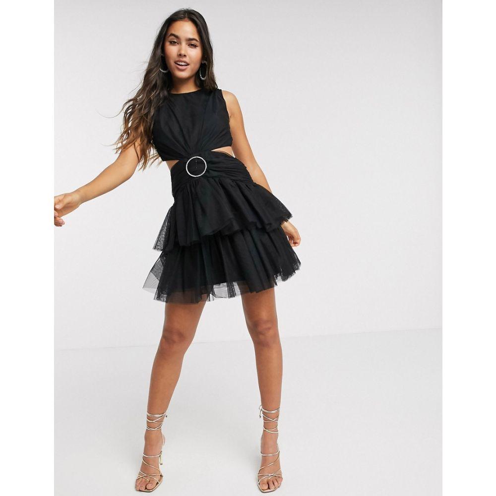 エイソス ASOS DESIGN レディース ワンピース ミニ丈 ワンピース・ドレス【tulle mini dress with embellished ring in black】Black