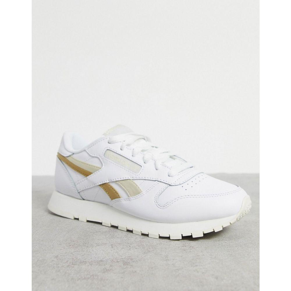 リーボック Reebok レディース スニーカー シューズ・靴【Classic Leather trainers in white with gold detailing】Beige