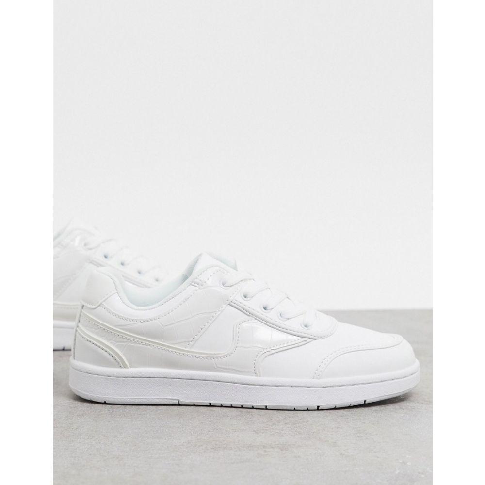 エイソス ASOS DESIGN レディース スニーカー レースアップ シューズ・靴【Deal lace up trainers in white】White