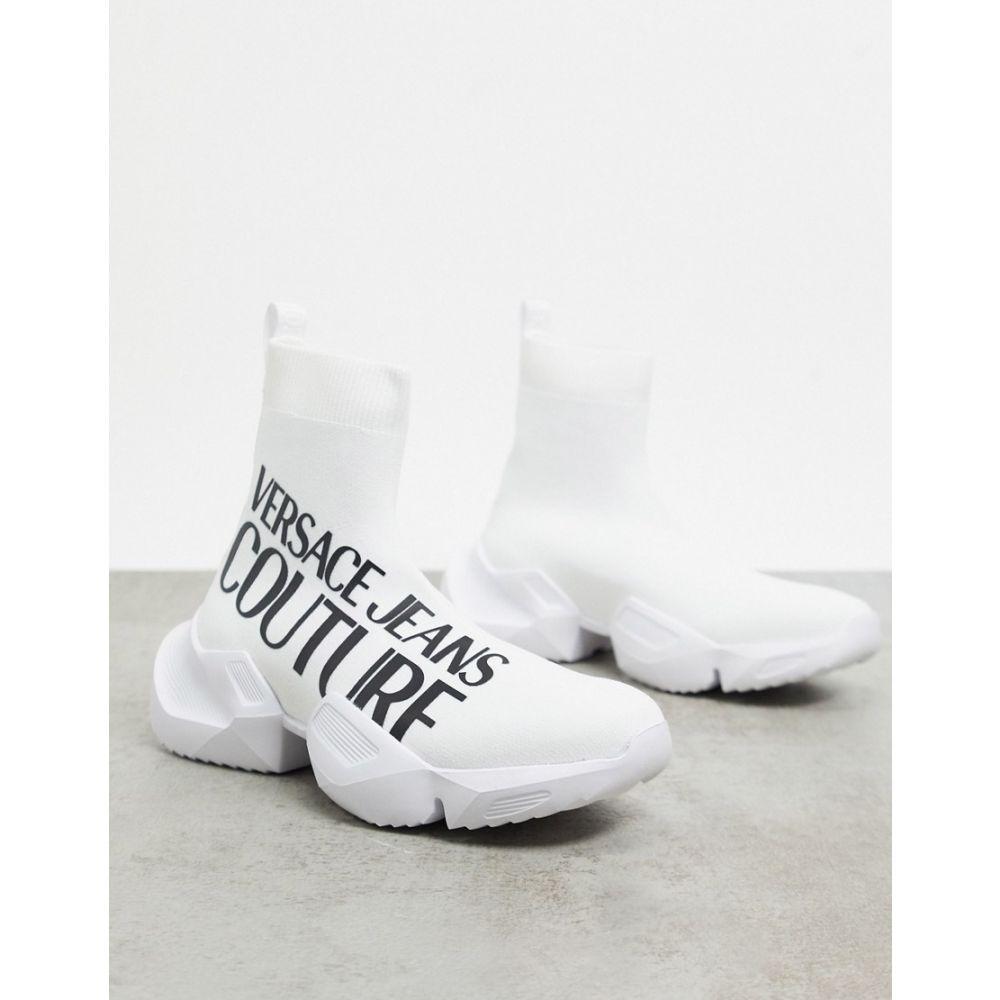 ヴェルサーチ Versace Jeans Couture レディース スニーカー チャンキーヒール シューズ・靴【logo chunky sock trainers】White