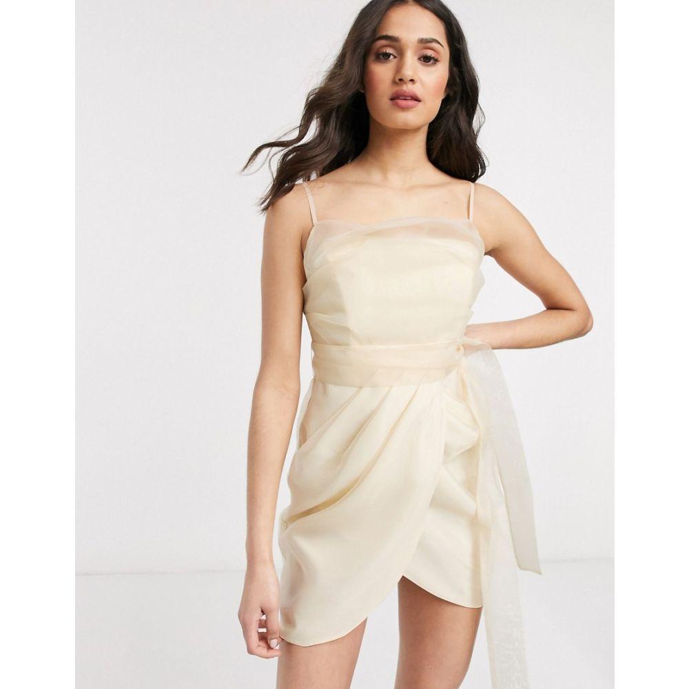 エイソス ASOS DESIGN レディース ワンピース キャミワンピ ワンピース・ドレス【organza cami mini dress wih drape skirt in Cream】Cream