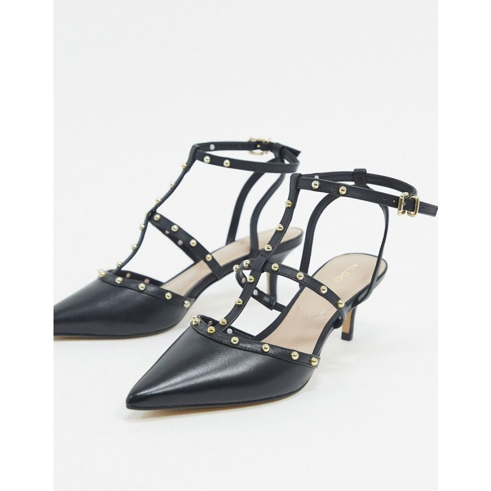 アルド ALDO レディース ヒール シューズ・靴【ederama leather studded stilletto mid heels in black】Black