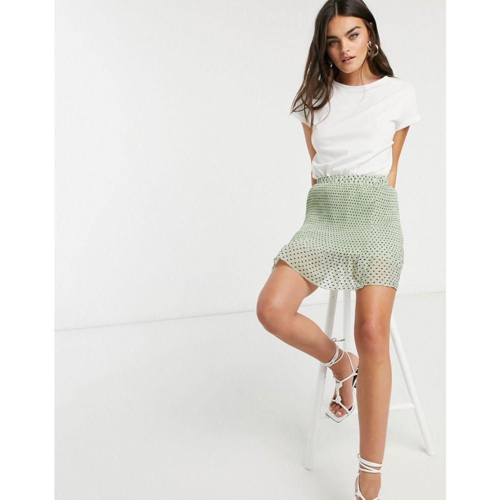 エイソス ASOS DESIGN レディース ミニスカート スカート【mini pleated skirt in green spot print】Green spot
