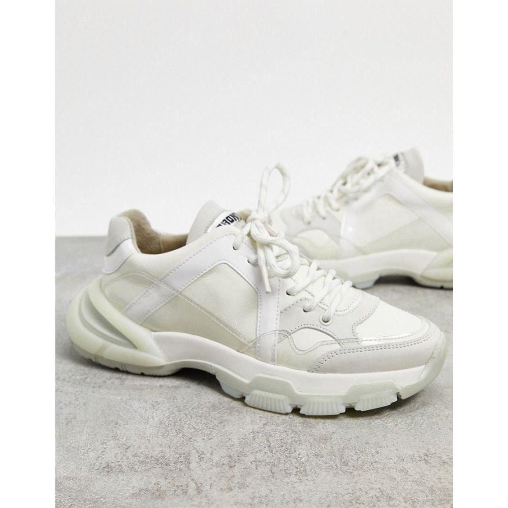 ブロンクス Bronx レディース スニーカー チャンキーヒール シューズ・靴【BRONX chunky trainers in white leather】Off white