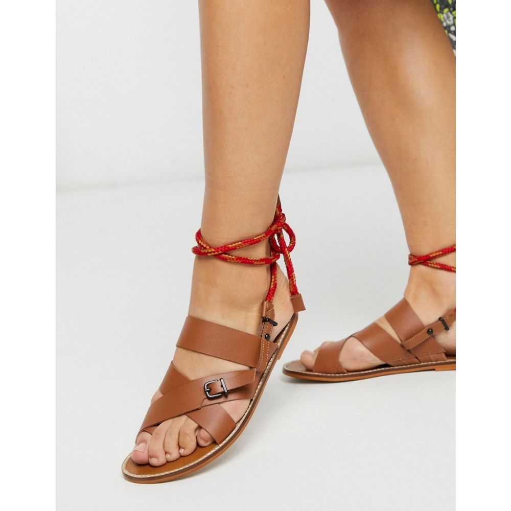 ASRA レディース サンダル・ミュール シューズ・靴【Exclusive Sarah gladiator sandals with rope tie in tan leather】Tan leather:フェルマート