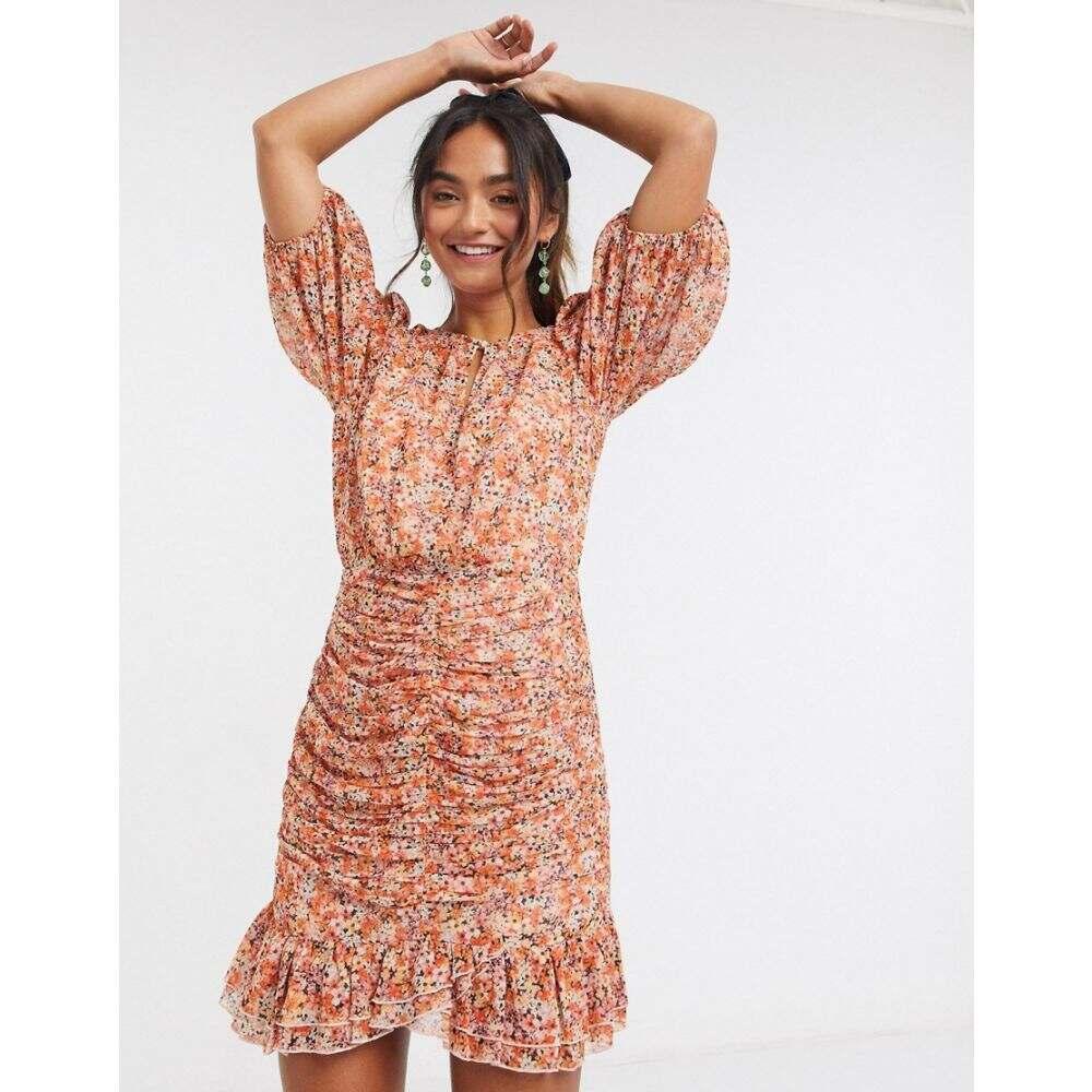 フォーエバーニュー Forever New レディース ワンピース ワンピース・ドレス【flippy hem mini dress in burnt orange floral print】Burnt orange floral