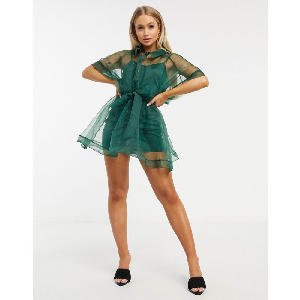 アイソウイットファースト I Saw It First レディース ワンピース シャツワンピース ワンピース・ドレス【organza shirt dress in green】Green