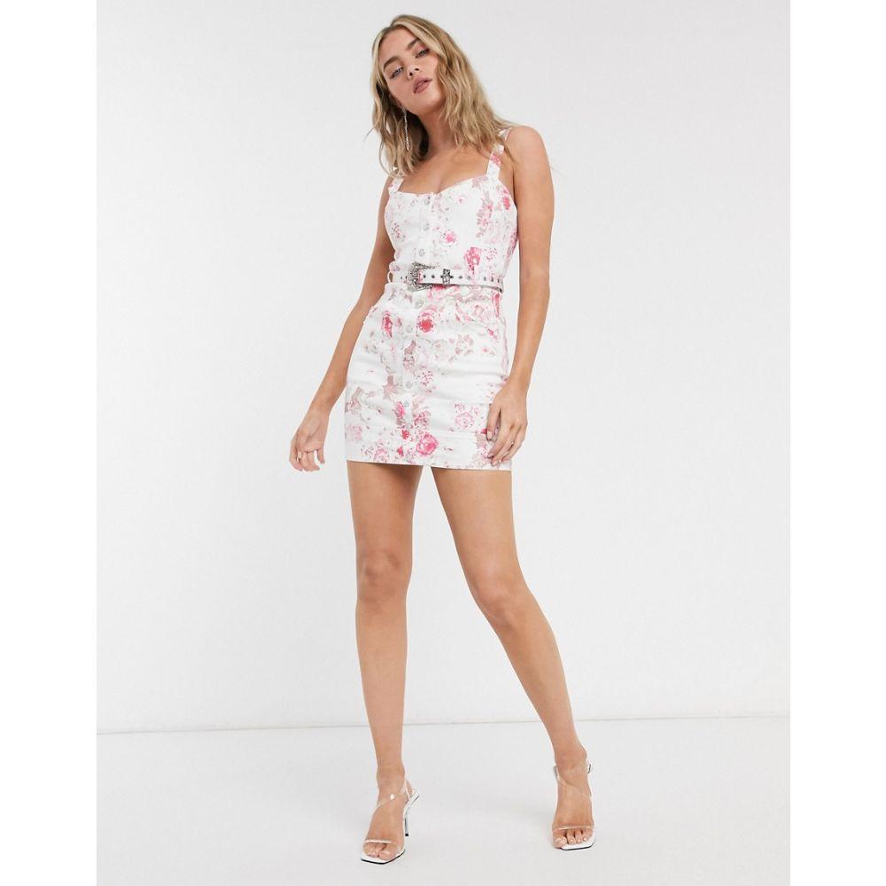 フォーラブアンドレモン For Love And Lemons レディース ワンピース デニム ミニ丈 ワンピース・ドレス【For Love & Lemons Weston Denim Mini Dress】Pink floral