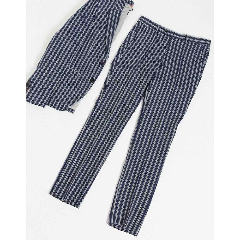 アヴェイルロンドン AVAIL London メンズ スラックス ボトムス・パンツ【Avail London skinny fit linen suit trousers in navy stripe】Navy