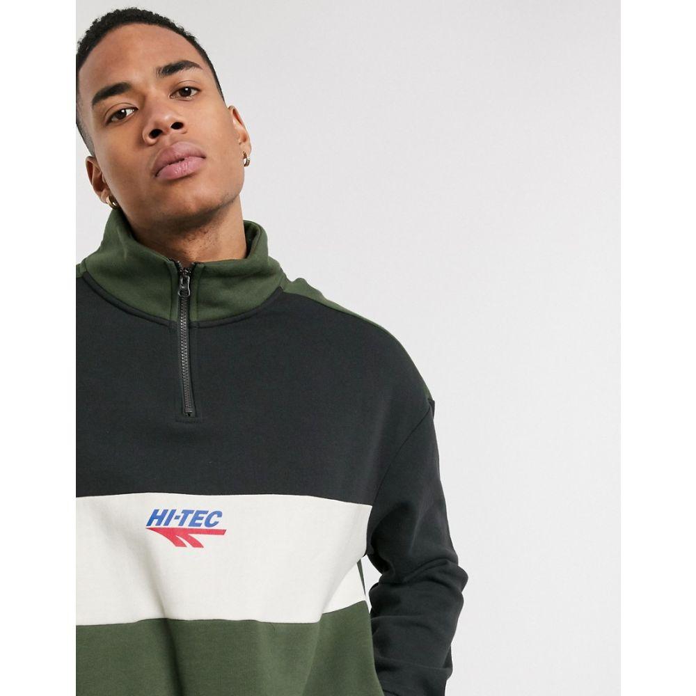 ハイテック Hi-Tec メンズ スウェット・トレーナー トップス【panelled half zip sweatshirt in black and green】Washed black