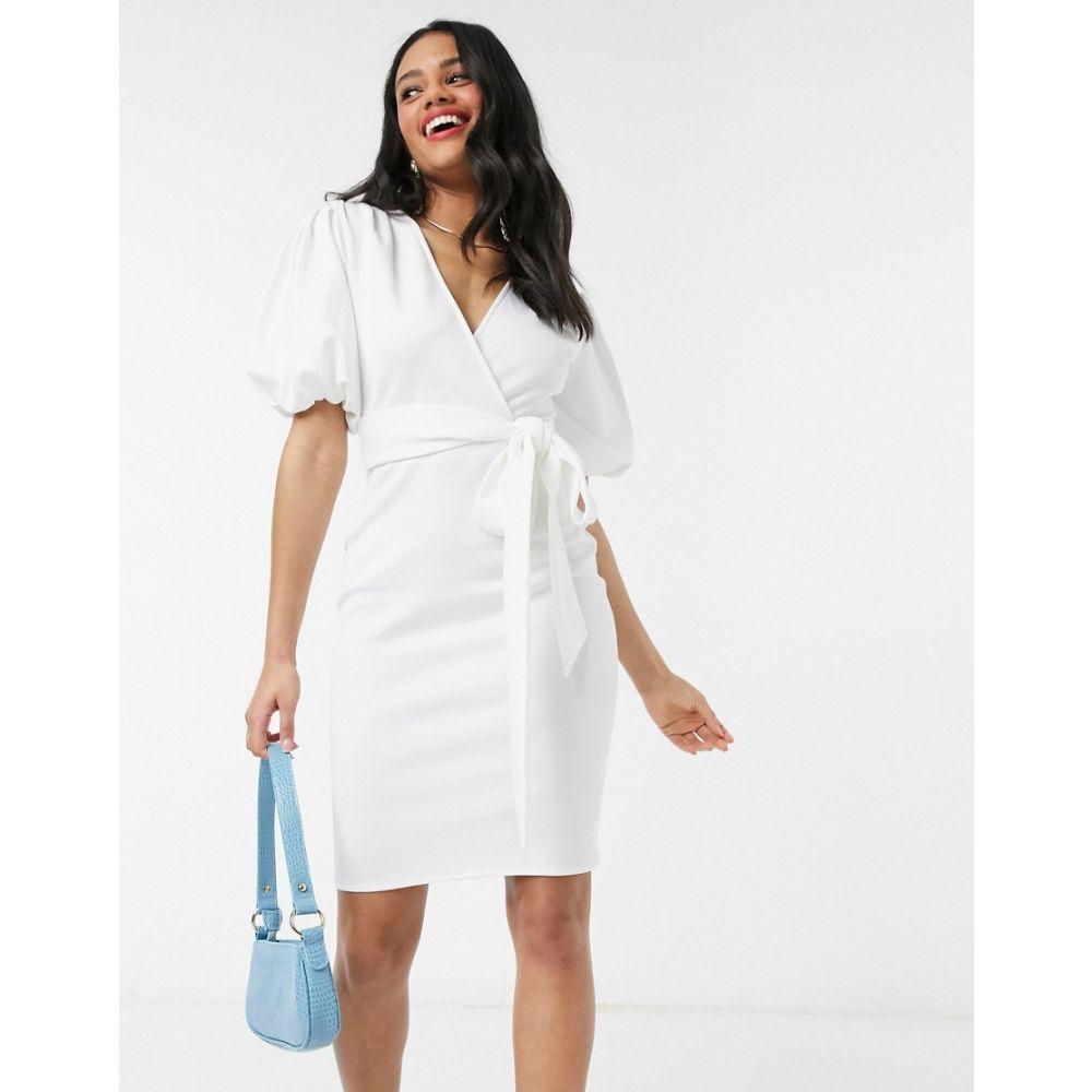 レースドインラブ Laced In Love レディース ワンピース ラップドレス ペンシル ワンピース・ドレス【wrap pencil dress with puff sleeve in white】White