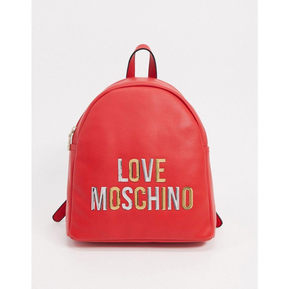モスキーノ Love Moschino レディース バックパック・リュック バッグ【logo backpack in ivory】Red