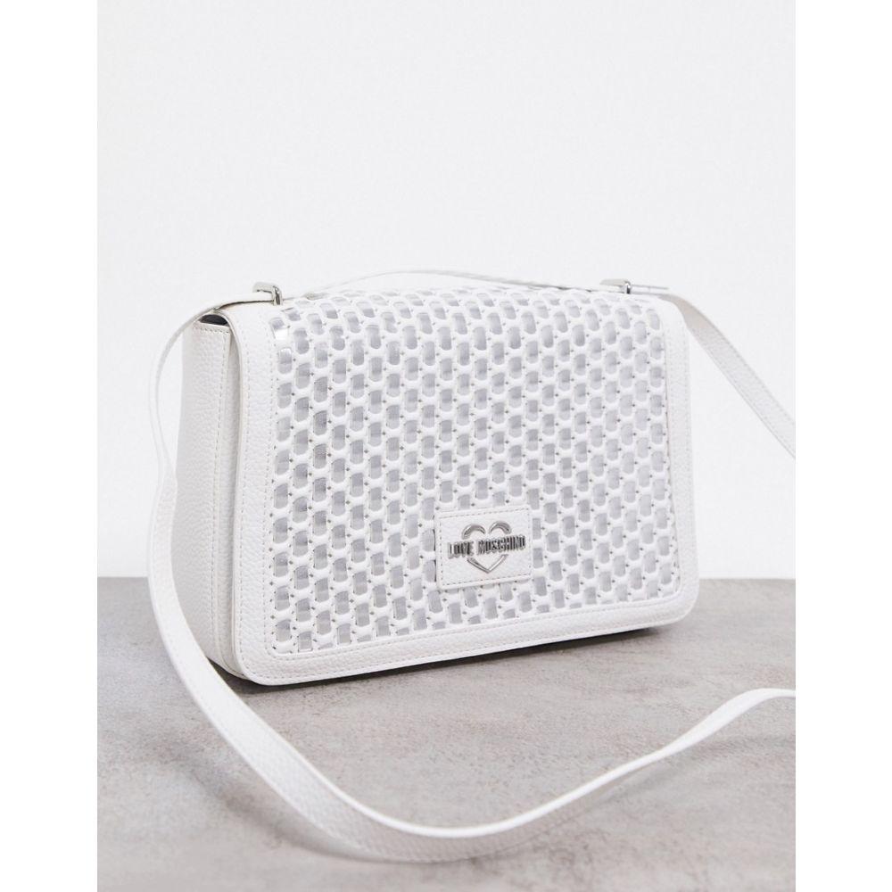【メーカー再生品】 モスキーノ Love Moschino レディース ショルダーバッグ バッグ【cross body bag in weave effect in white】White, 小さいお仏壇の専門店BUSSE 59de2959