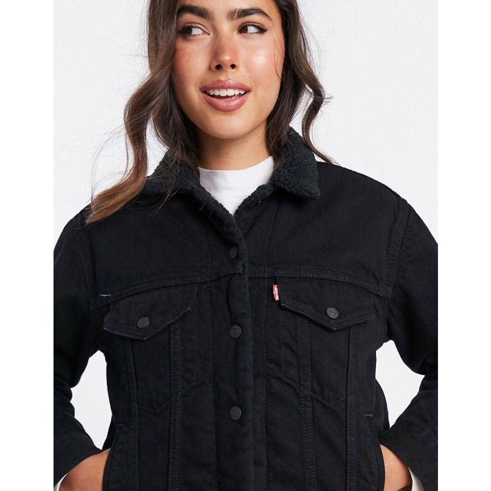リーバイス Levi's レディース ジャケット Gジャン アウター【ex-boyfriend Sherpa trucker denim jacket in black】Forever black