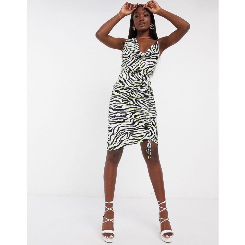 ラヴィッシュアリス Lavish Alice レディース ワンピース キャミワンピ ワンピース・ドレス【cowl neck satin cami dress in zebra print】Zebra print
