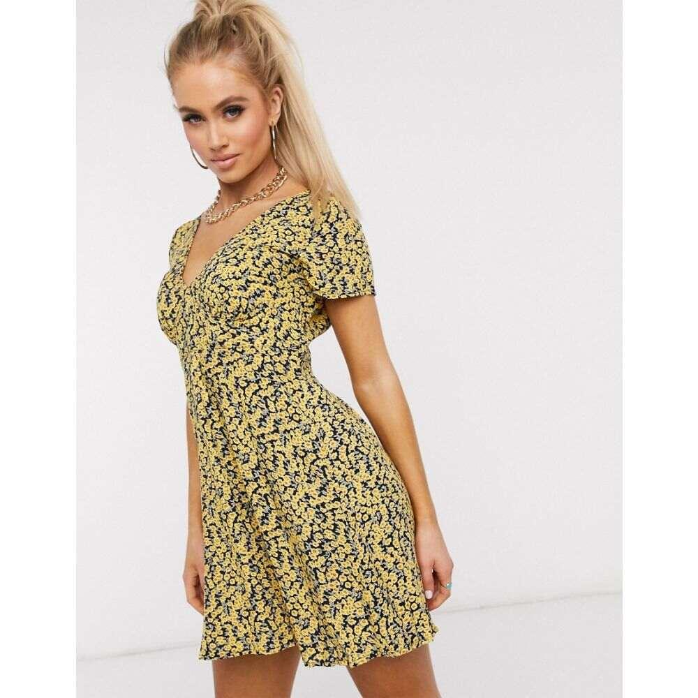 モーテル Motel レディース ワンピース ワンピース・ドレス【tea dress in ditsy floral print】Mini bloom yellow