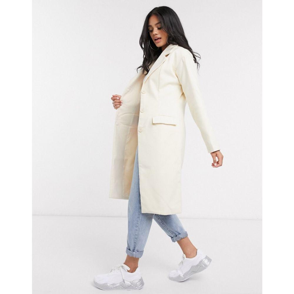 ミスガイデッド Missguided レディース コート ロングコート アウター【formal longline coat in cream】Cream