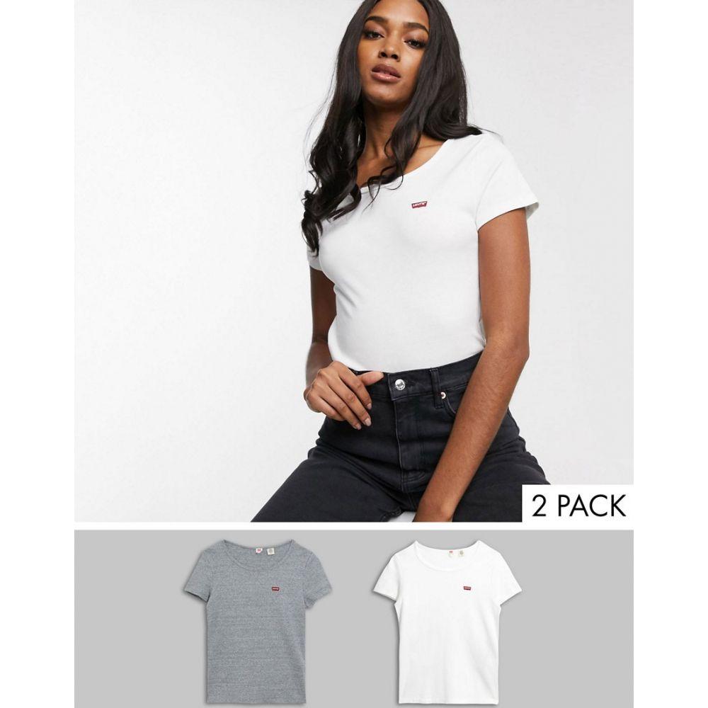 リーバイス Levi's レディース Tシャツ 2点セット トップス【2 pack t-shirt in white & grey】White smokestack hea