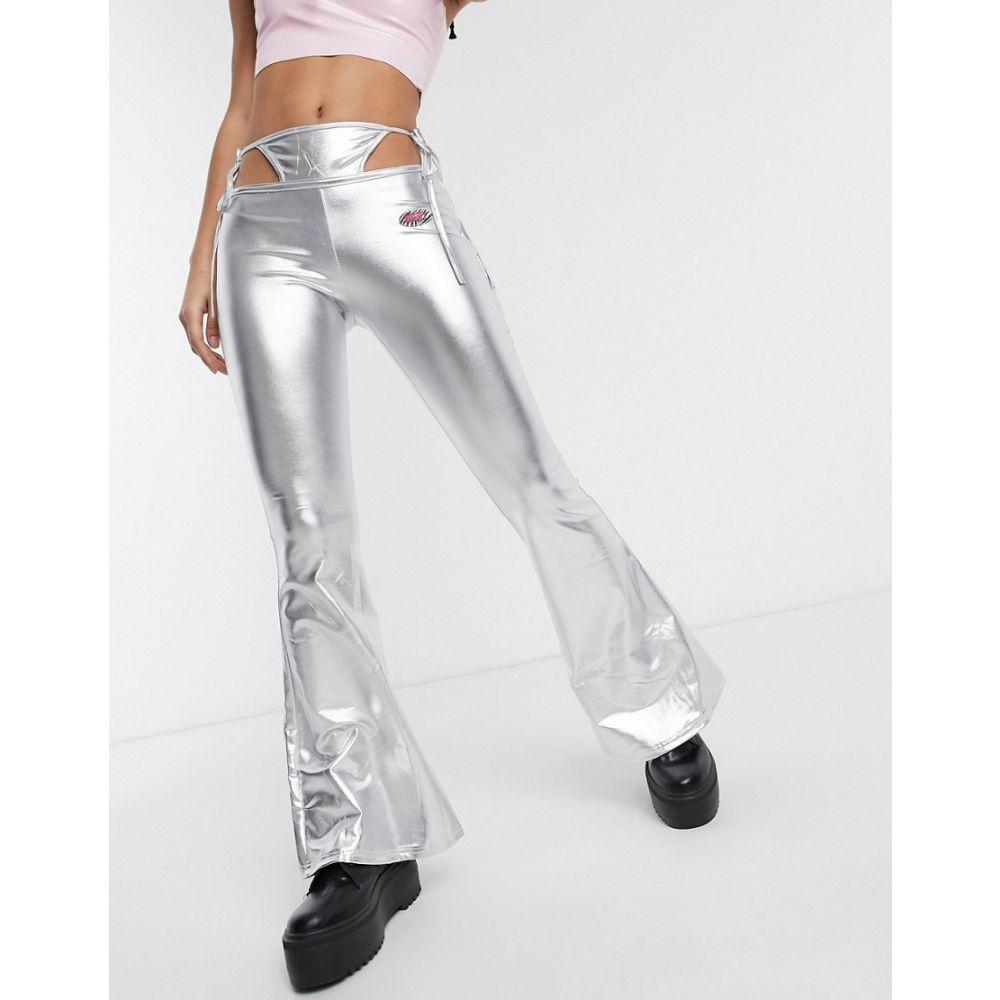 オーマイティ O'Mighty レディース ボトムス・パンツ Tバック【O Mighty festival g-string flare trousers in metallic】Silver