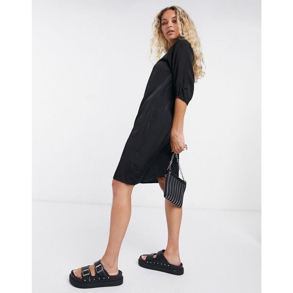 オブジェクト Object レディース ワンピース シャツワンピース ワンピース・ドレス【shirt dress with collar detail in black】Black