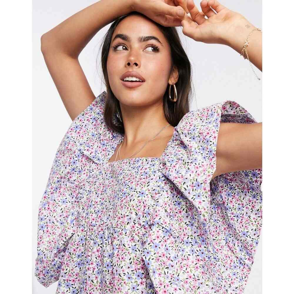 マンゴ Mango レディース ブラウス・シャツ トップス【square neck smock blouse in purple floral】Multi