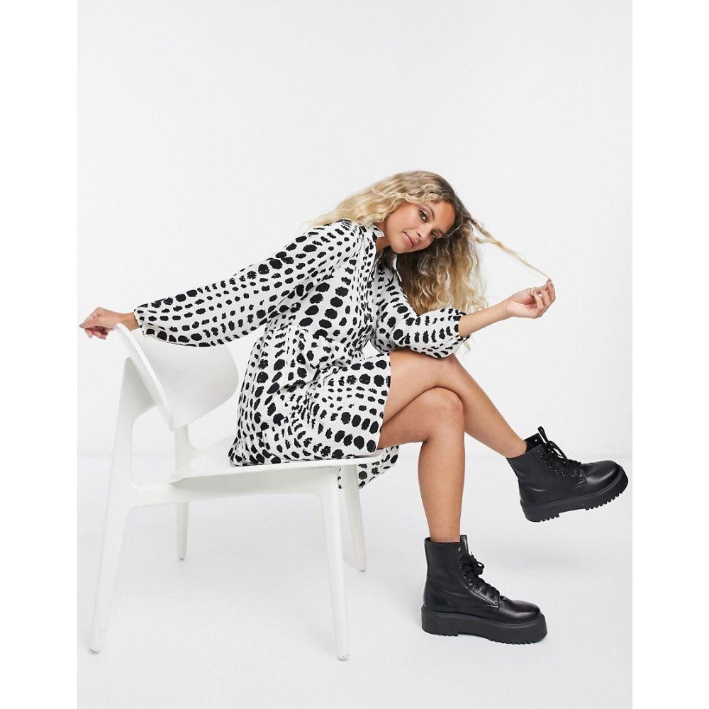 オブジェクト Object レディース ワンピース ワンピース・ドレス【smock dress with tiering in white spot print】Spot print
