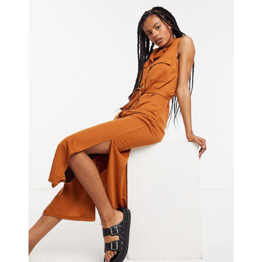 オブジェクト Object レディース ワンピース シャツワンピース ワンピース・ドレス【maxi shirt dress with pocket detail and side splits in rust】Rust
