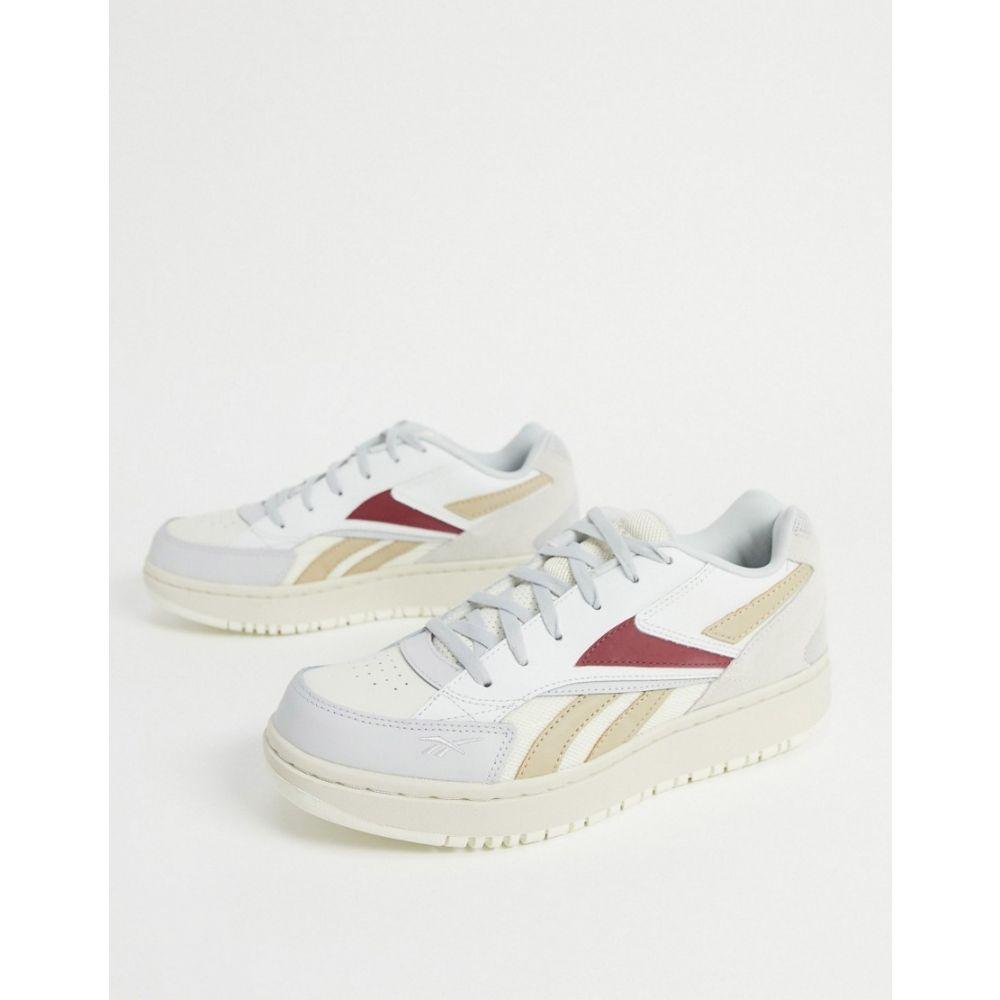 リーボック Reebok レディース スニーカー シューズ・靴【Court Double trainers in white with colour details】Grey