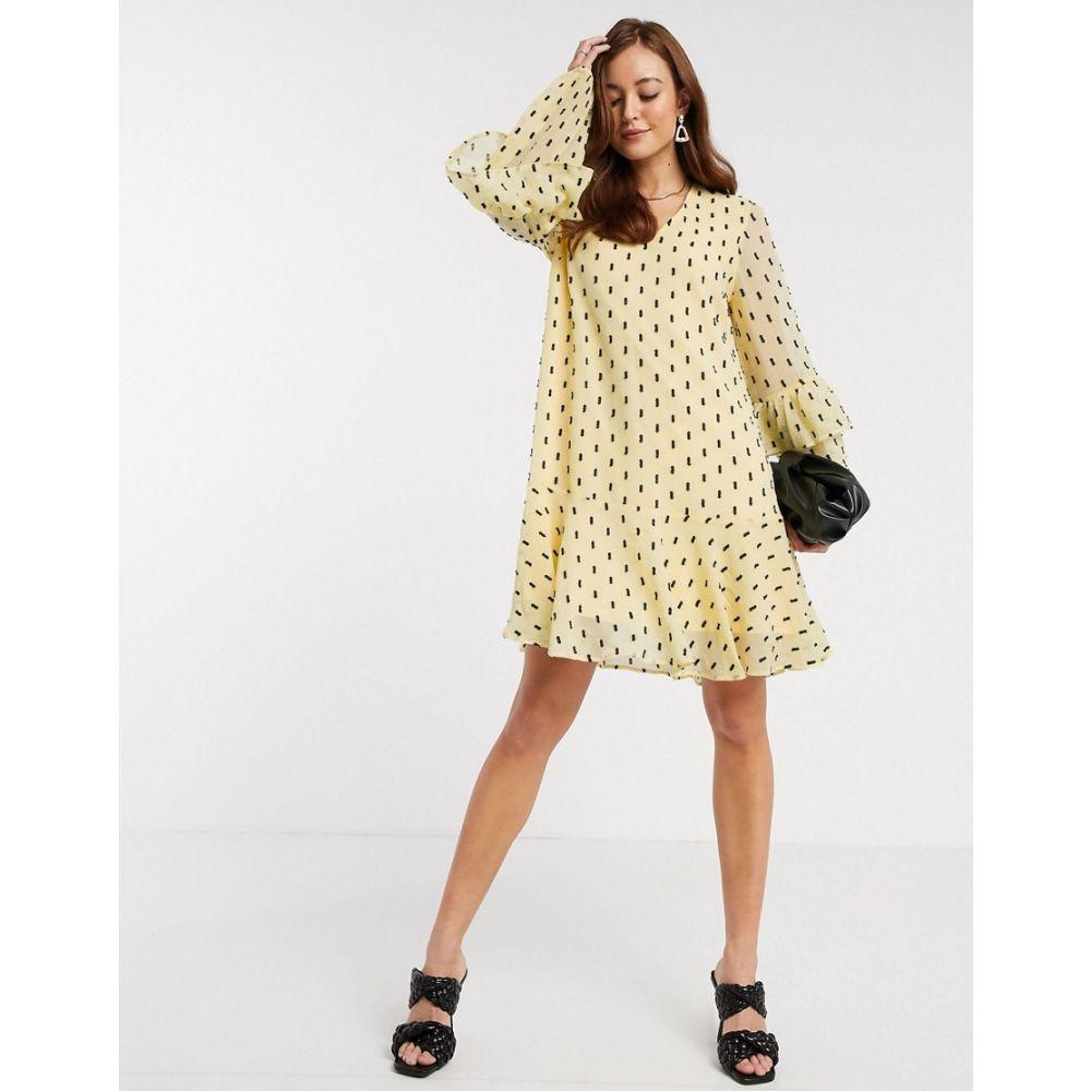 ワイ エー エス Y.A.S レディース ワンピース ミニ丈 ワンピース・ドレス【mini smock dress with frill sleeve detail in black spot】Yellow