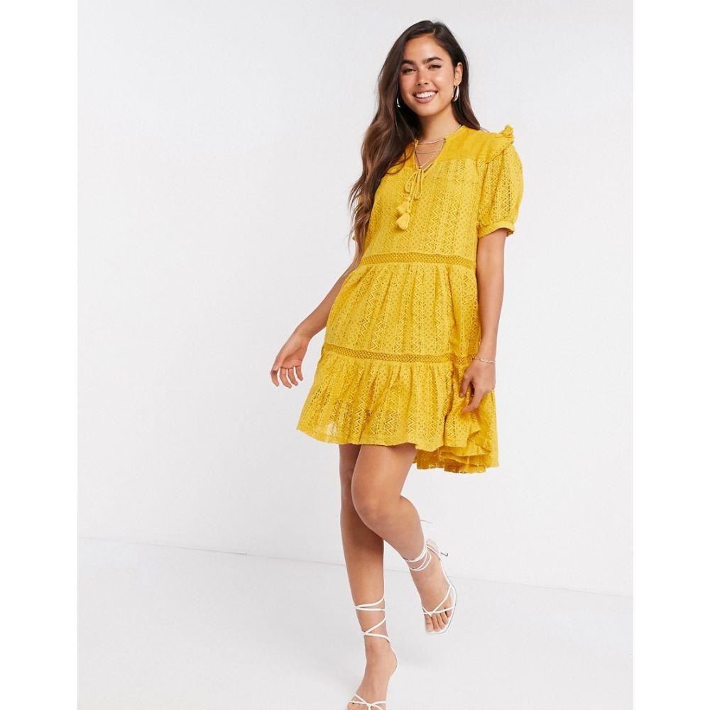 マンゴ Mango レディース ワンピース ティアードドレス ワンピース・ドレス【bohemian tiered smock dress in mustard】Yellow