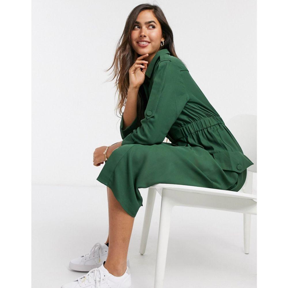 ワイ エー エス Y.A.S レディース ワンピース シャツワンピース ワンピース・ドレス【. Verda button front shirt dress in green】Greener pastures