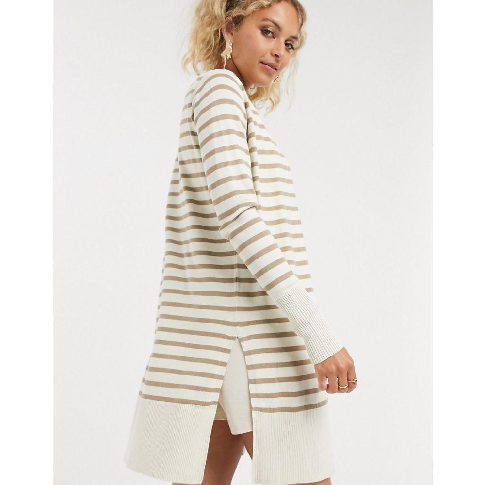 ノイズィーメイ Noisy May レディース カーディガン トップス【striped cardigan in cream】Brown/cream