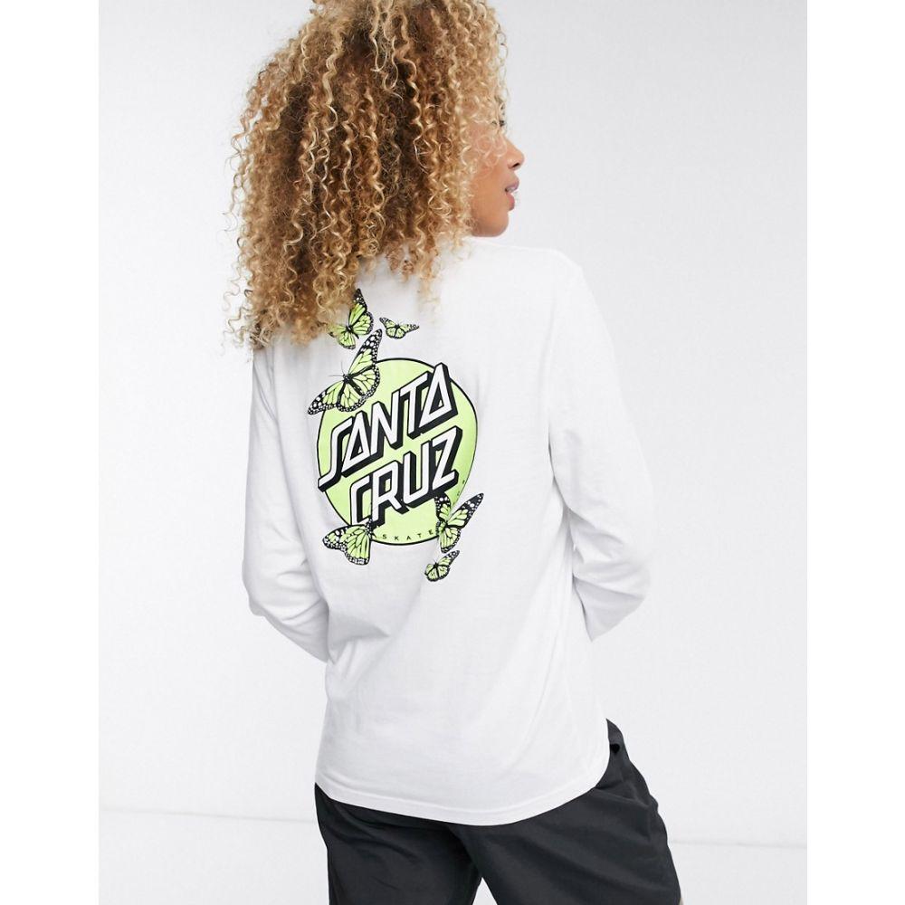 サンタクルーズ Santa Cruz レディース 長袖Tシャツ トップス【Monarch Glow Dot long sleeve t-shirt in white】White