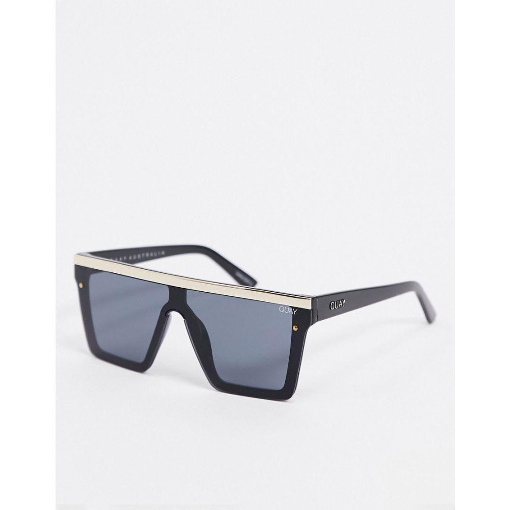 キー オーストラリア Quay Australia レディース メガネ・サングラス 【Hindsight visor sunglasses in black with gold trim】Black gold smoke