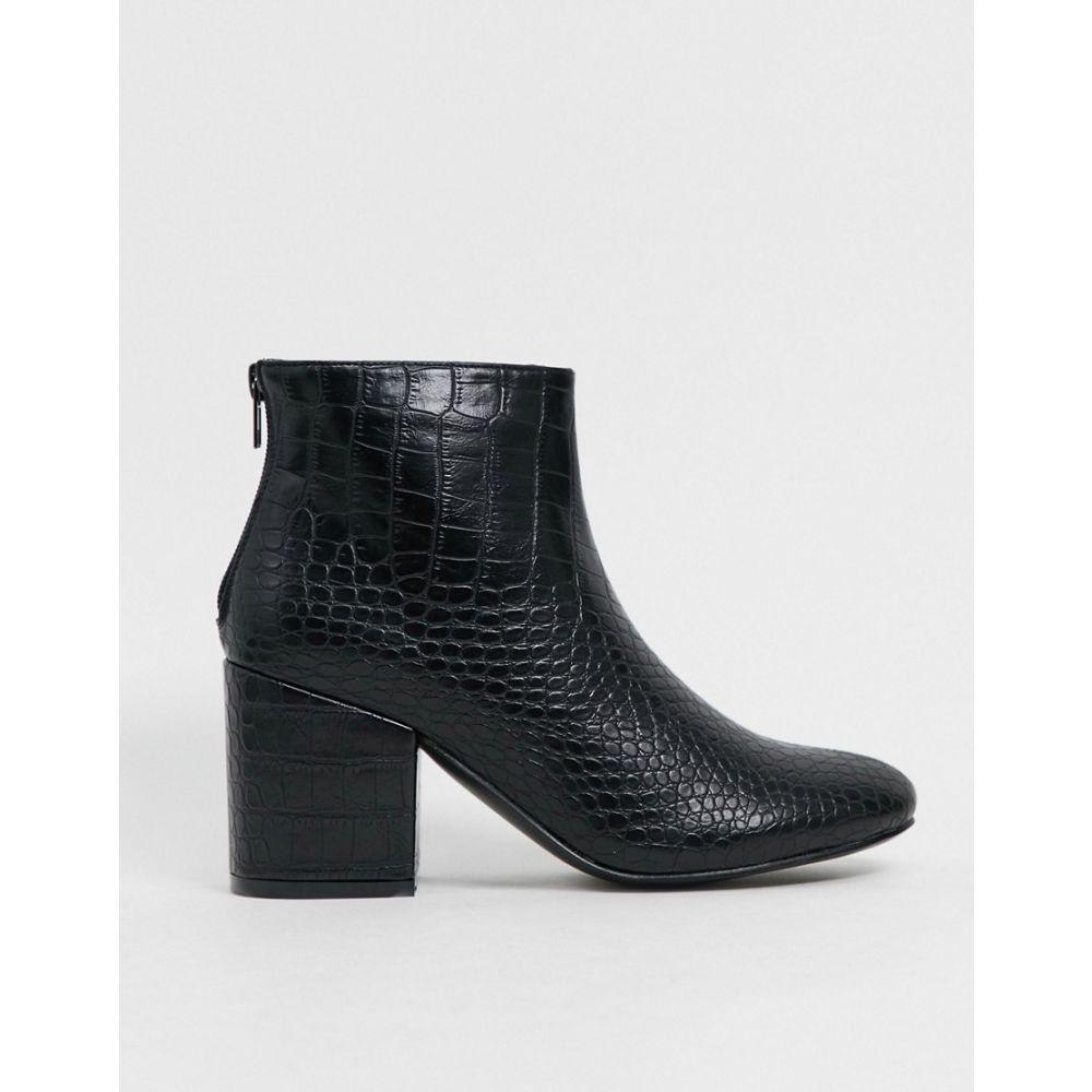 トリュフコレクション Truffle Collection レディース ブーツ ショートブーツ シューズ・靴【mid heeled ankle boot in black croc】Black croc pu