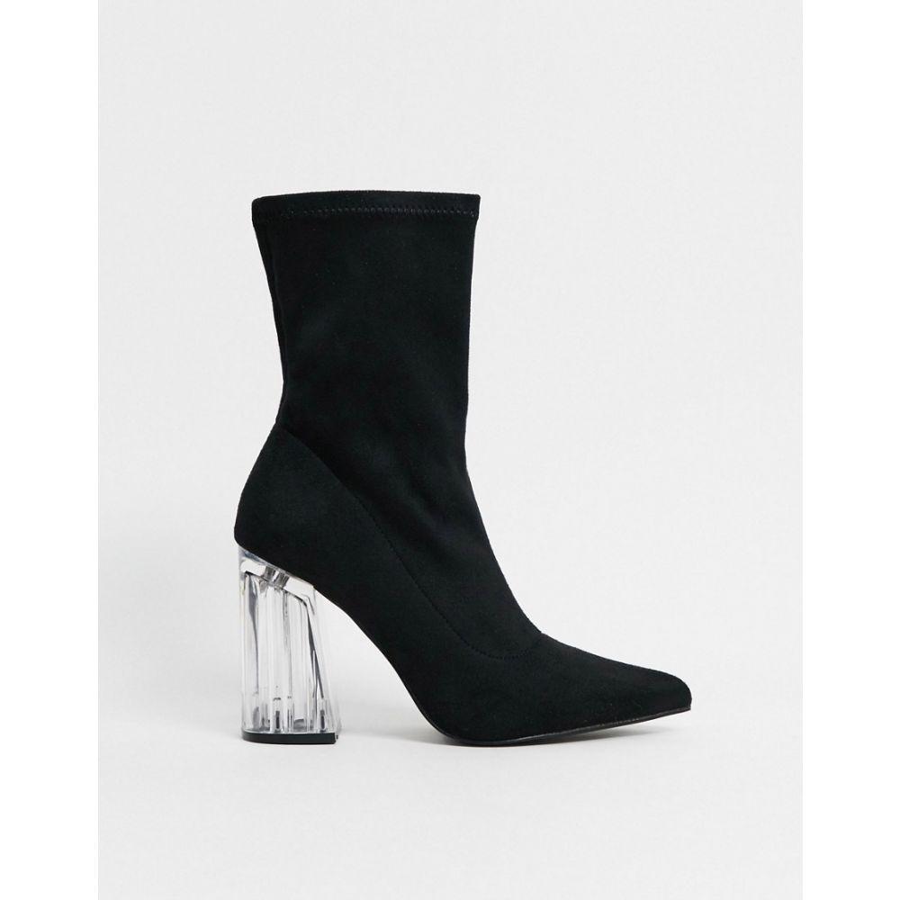 トリュフコレクション Truffle Collection レディース ブーツ シューズ・靴【clear heeled pointed sock boots in black】Black microfibre