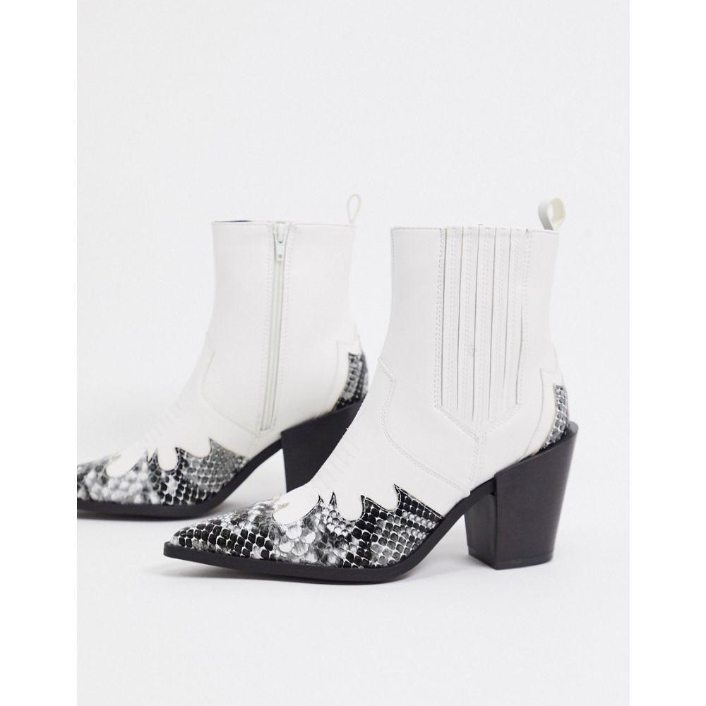 トリュフコレクション Truffle Collection レディース ブーツ ウェスタンブーツ シューズ・靴【mid heeled western boots in white】White pu