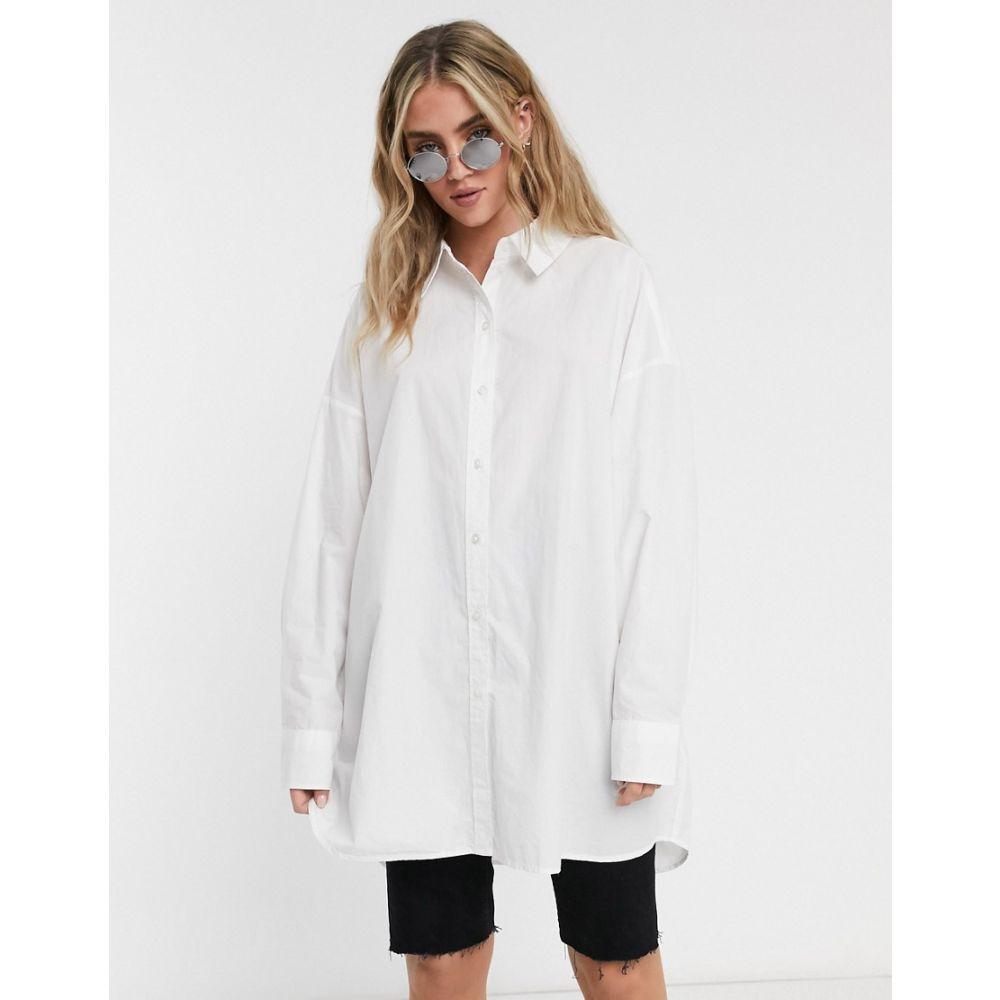 ウィークデイ Weekday レディース ブラウス・シャツ トップス【Tova organic cotton oversized shirt in white】White