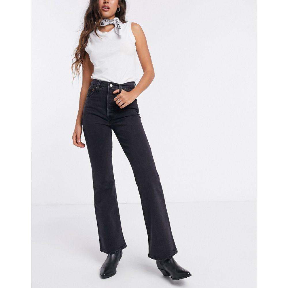 リーバイス Levi's レディース ジーンズ・デニム ブーツカット ボトムス・パンツ【Ribcage bootcut jeans in washed black】Black bayou