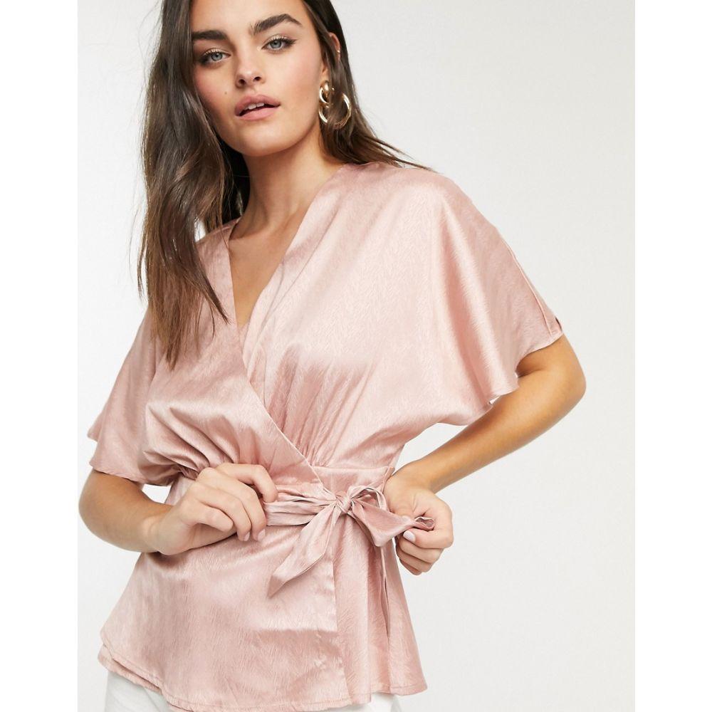 ヴィラ Vila レディース ブラウス・シャツ トップス【satin wrap blouse in pink】Pink