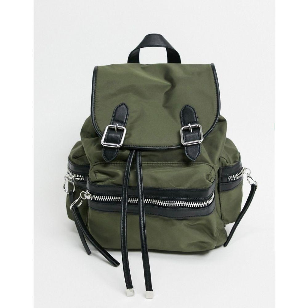 トップショップ Topshop レディース バックパック・リュック バッグ【nylon backpack in khaki】Green